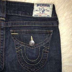 True Religion 29 Tall Dark wash flare flap pockets